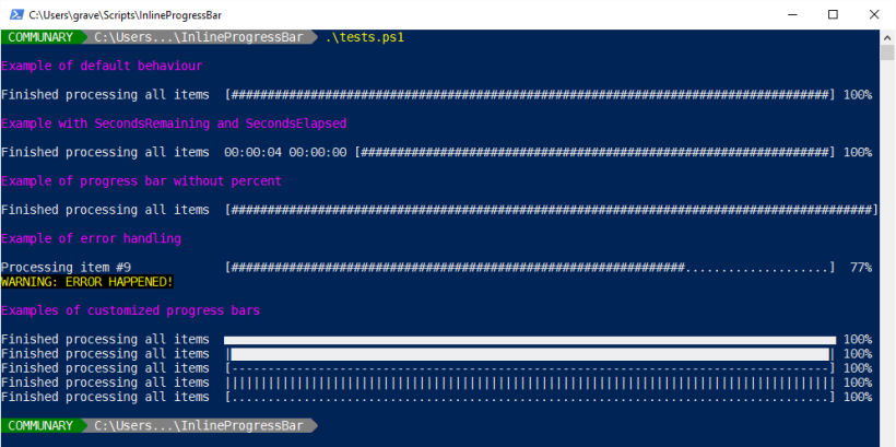 Inline Progress Bar in PowerShell – Communary